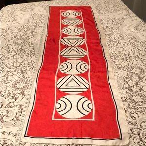 Accessories - Vintage Geometric Red, White, & Black Scarf